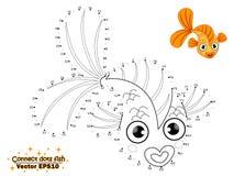 Förbind prickattraktionen den gulliga tecknad filmfisken och färga Utbildning stock illustrationer