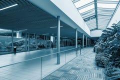Förbindande korridor på flygplatsen Rymd och exponeringsglas Arkivbild