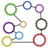 Förbindande kugghjul av olika färger raster Royaltyfri Fotografi