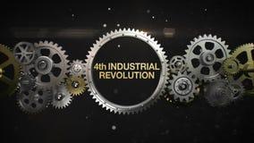 Förbindande kugghjulhjul och gör nyckelord, 'den 4th industriella revolutionen' (den inklusive alfabetisken) royaltyfri illustrationer