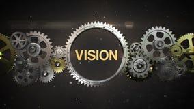 Förbindande kugghjulhjul och gör nyckelord, 'VISION', stock illustrationer