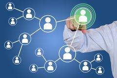 Förbindelse och kontakter i socialt nätverk Arkivfoto