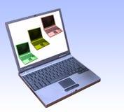 förbindelsebärbar dator till glåmigt Arkivfoto