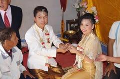 Förbindelseceremoni av thailändskt folk i norr counrty Arkivbilder