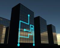 Förbindelsekontorsbyggnad stock illustrationer