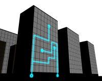Förbindelsekontorsbyggnad vektor illustrationer