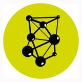 Förbindelselänk Logo Design i gräsplan-limefrukt cirkel Enkelt kvalitetstecken Arkivfoton