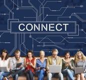 Förbindelselänkar som knyter kontakt tillträdesbegrepp Fotografering för Bildbyråer