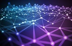 Förbindelsenätverksbegrepp 3D framförd illustration av abstrakt strukturbakgrund royaltyfri illustrationer
