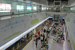Förbise den guangzhou tunnelbanan Arkivfoto