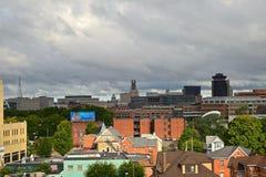 Förbise Rochester NYS stadshorisont Royaltyfri Fotografi