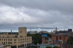Förbise Rochester NYS stadshorisont Arkivfoto