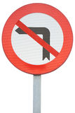 Förbjudas vändande vänstersida för vägmärke isolerade på vit bakgrund Royaltyfri Bild