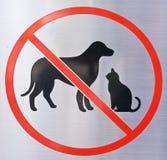Förbjuden hund & Cat Sign Arkivfoto