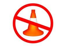 Förbjuden idérik säkerhetsvägdesign kotte isolerad trafikwhite reparera vägen royaltyfri fotografi