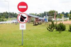 Förbjudet område för fastställda symboler offentligt Fotografering för Bildbyråer