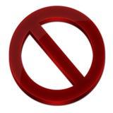 Förbjudet tecken 3D röd färg Arkivfoto