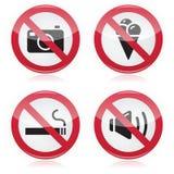 Förbjudet tecken: inga kameror, ingen mat, nr. - röka, n Royaltyfria Bilder
