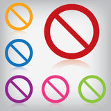 Förbjudit färgrikt tecken för vektorpacke  Arkivfoto