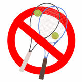 Förbjudit tecken för tennis lek Fotografering för Bildbyråer