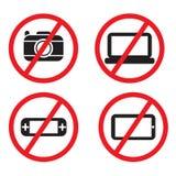 Förbjudna elektroniska apparater för symbol Arkivbild
