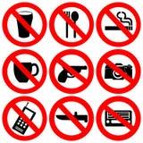 förbjudna tecken för illustration Royaltyfri Fotografi
