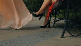 Förbluffa ben av härliga flickor stock video