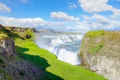 Förbluffa den Gullfoss vattenfallet Guld- cirkelrutt iceland arkivfoto