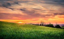 Förbluffa den tuscan solnedgången Arkivfoton