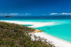 Förbluffa den Whitehaven stranden i pingstdagöarna, Queensland, arkivfoton