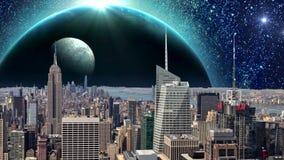 Förbluffa fantasistadsanimering, fantasiNew York City animering Apokalyps av New York royaltyfri illustrationer
