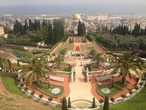 Förbluffa Haifa Israel Baha ' mig trädgårdar Royaltyfri Foto