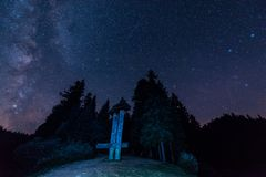 Förbluffa nattlandskap under den Perseid meteorregnet med stjärnklar himmel, Vintergatan och fallande meteor royaltyfri fotografi