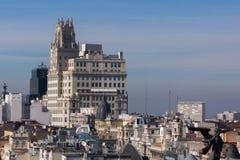 Förbluffa panoramautsikt av staden av Madrid från Circulo de Bellas Artes, Spanien royaltyfri bild