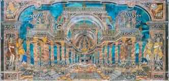 Förbluffa perspektivmosaiken i kyrkan för Immacolata Concezione av för den Chiesa för obefläckad befruktning dellen 'Capo al i Pa royaltyfri fotografi