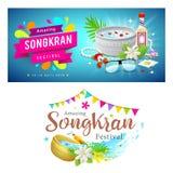 Förbluffa samlingar för Thailand Songkran festivalbaner vektor illustrationer