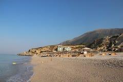 Förbluffa stränder av Dhermi, Albanien Arkivbilder