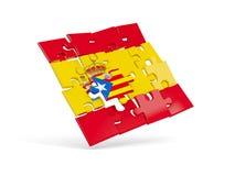 Förbrylla flaggan av Spanien och flaggan av Catalonia Arkivfoto