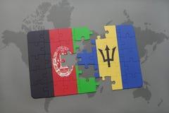 förbrylla med nationsflaggan av Afghanistan och Barbados på en världskartabakgrund Fotografering för Bildbyråer