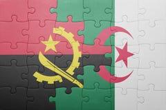 förbrylla med nationsflaggan av Algeriet och Angola Royaltyfria Foton