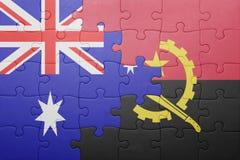förbrylla med nationsflaggan av Angola och Australien Royaltyfri Fotografi