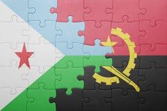 förbrylla med nationsflaggan av Angola och djibouti Royaltyfri Bild