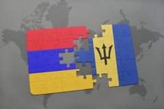 förbrylla med nationsflaggan av Armenien och Barbados på en världskarta Royaltyfria Foton