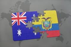 förbrylla med nationsflaggan av Australien och Ecuador på en världskartabakgrund Arkivbild