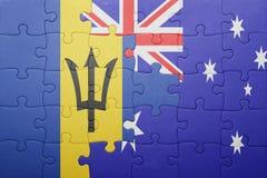 Förbrylla med nationsflaggan av Barbados och Australien Royaltyfri Foto