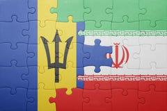 förbrylla med nationsflaggan av Barbados och Iran Arkivfoton