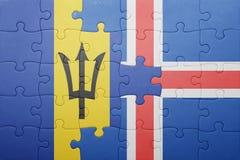 förbrylla med nationsflaggan av Barbados och Island Royaltyfri Fotografi