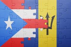 Förbrylla med nationsflaggan av Barbados och Puerto Rico Royaltyfri Fotografi