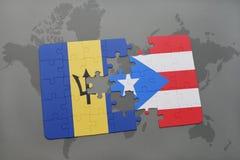 förbrylla med nationsflaggan av Barbados och Puerto Rico på en världskartabakgrund Arkivbilder