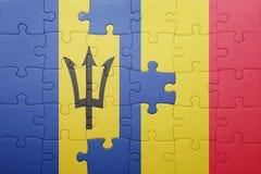 förbrylla med nationsflaggan av Barbados och Rumänien Royaltyfri Bild